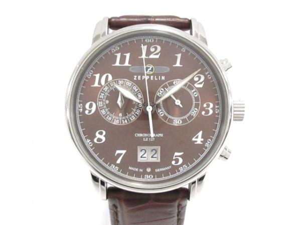 ツェッペリン 腕時計 - LZ127 メンズ 革ベルト/クロノグラフ ダークブラウン