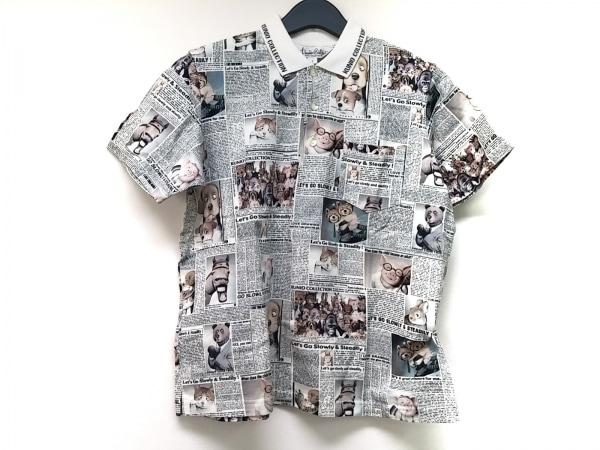 kunio sato(クニオ サトウ) 半袖ポロシャツ サイズL メンズ 白×黒×マルチ