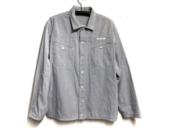 Papas(パパス) 長袖シャツ サイズL メンズ アイボリー×ダークネイビー