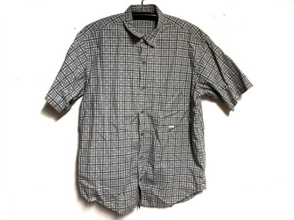 Papas(パパス) 半袖シャツ サイズM メンズ グレー×アイボリー×黒 チェック柄