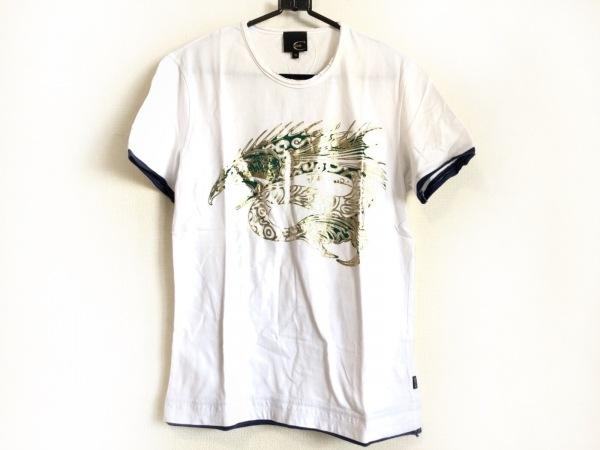 JUST cavalli(ジャストカヴァリ) 半袖Tシャツ サイズM メンズ 白×ネイビー×マルチ