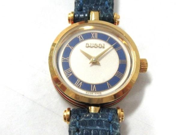 GUCCI(グッチ) 腕時計 - レディース アイボリー×ネイビー