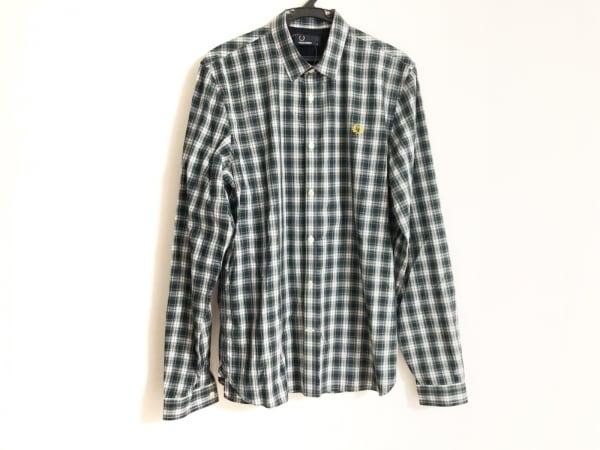 フレッドペリー 長袖シャツ サイズM メンズ美品  ダークネイビー×白×マルチ