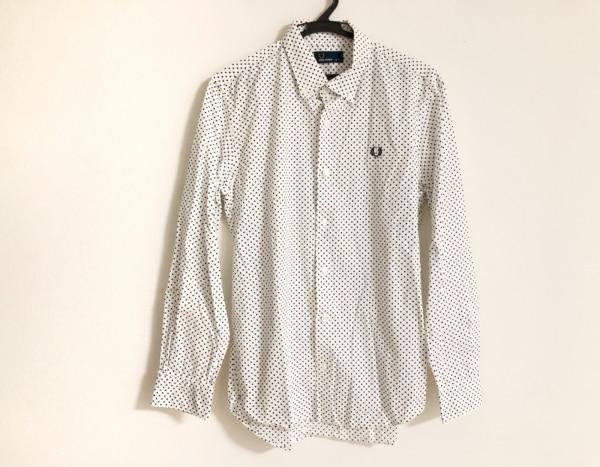フレッドペリー 長袖シャツ サイズM メンズ美品  白×ダークネイビー ドット柄