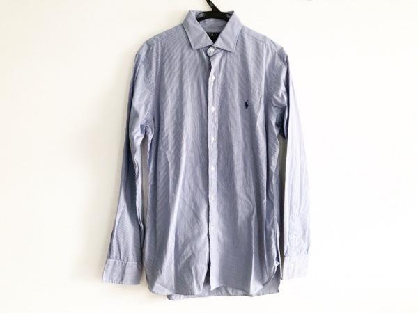 ポロラルフローレン 長袖シャツ サイズ15 1/2 メンズ ネイビー×白 ストライプ
