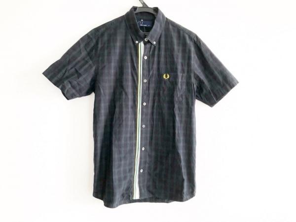 フレッドペリー 半袖シャツ サイズM メンズ ダークネイビー×ダークグリーン×マルチ