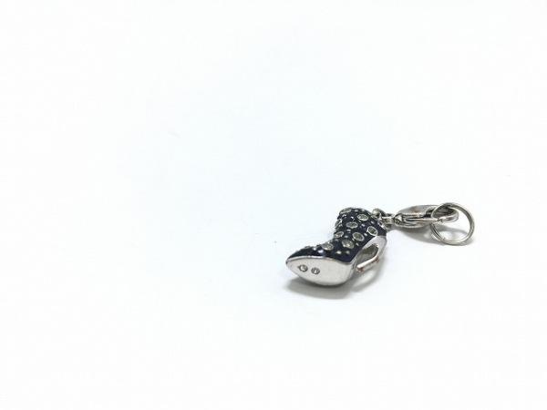 スワロフスキー キーホルダー(チャーム)美品  黒×シルバー×クリア ブーツモチーフ
