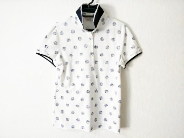 Adabat(アダバット) 半袖ポロシャツ サイズ38 M レディース 白×ダークネイビー