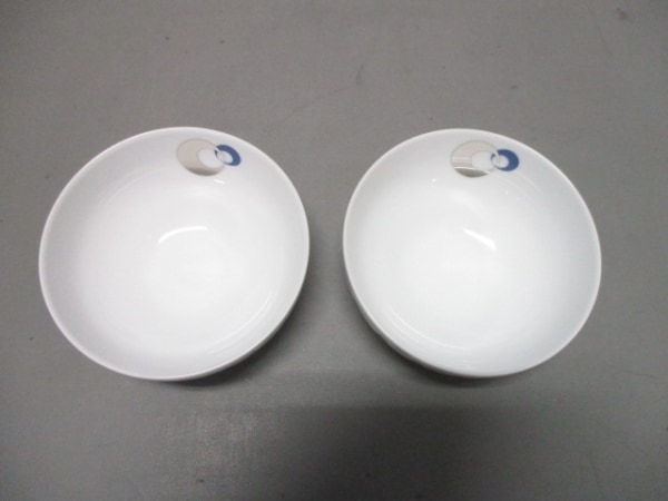 ティファニー 食器新品同様  ETERNITY 白×シルバー×ブルー ボウル×2 陶器