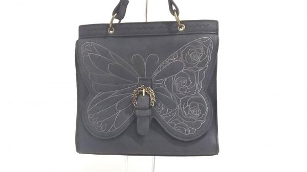 axes femme(アクシーズファム) ハンドバッグ新品同様  黒×ダークブラウン 刺繍 合皮