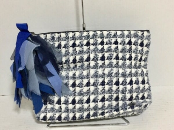 MUGUET(ミュゲ) クラッチバッグ 白×ネイビー×ブルー ツイード コットン×化学繊維