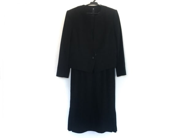 トウキョウソワール ワンピーススーツ サイズ9 M レディース 黒 肩パッド/プリーツ
