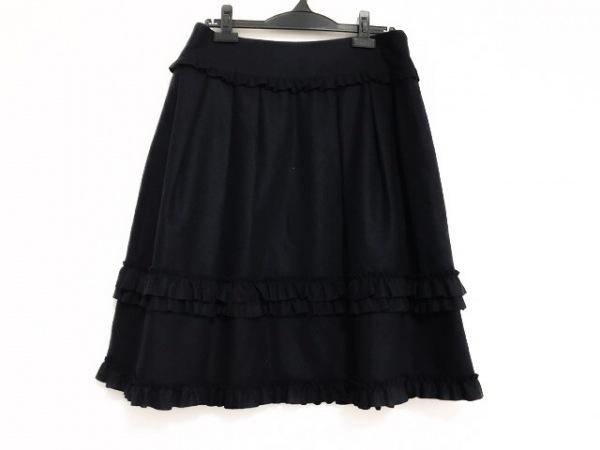 バレンチノ スカート サイズ8 M レディース美品  ダークネイビー フリル/プリーツ