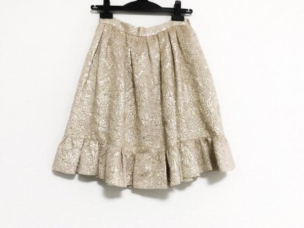 バレンチノ スカート サイズ40 M レディース美品  ベージュ×ゴールド シワ加工/ラメ