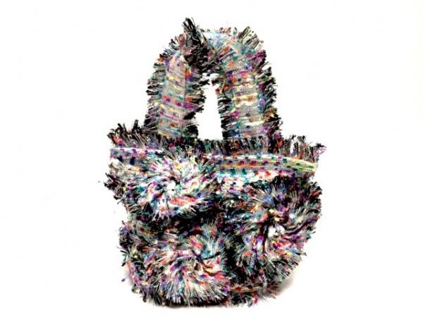 ノコオーノ トートバッグ シルバー×黒×マルチ フラワー/ビジュー/ラメ 化学繊維