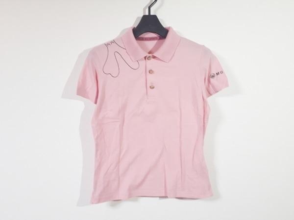 ミエコウエサコ 半袖ポロシャツ サイズ40 M レディース美品  ピンク×黒