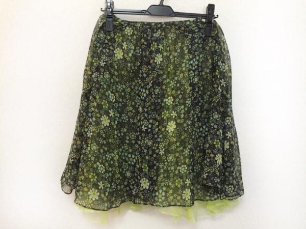 ロイスクレヨン スカート レディース美品  黒×ライトグリーン×マルチ 花柄