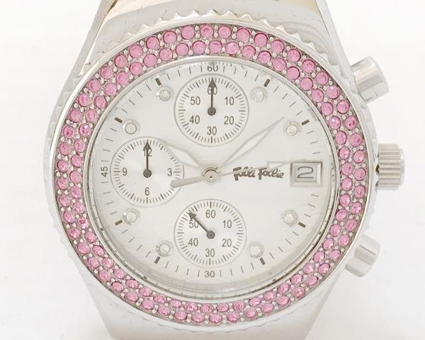 FolliFollie(フォリフォリ) 腕時計美品  - レディース 白×シルバー