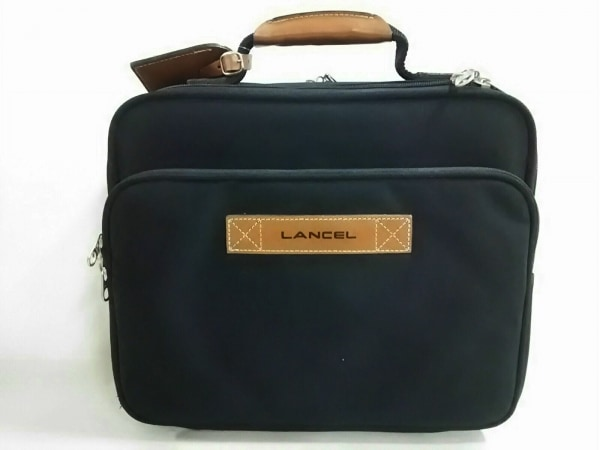 LANCEL(ランセル) ビジネスバッグ 黒×ブラウン 化学繊維×レザー