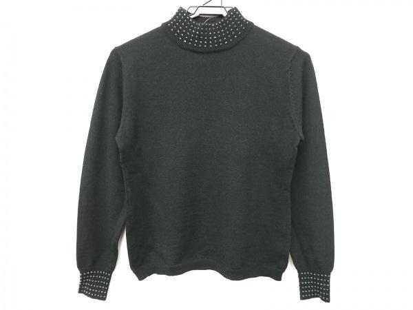 ギャラリービスコンティ 長袖セーター サイズM レディース美品  黒 ハイネック/ビーズ