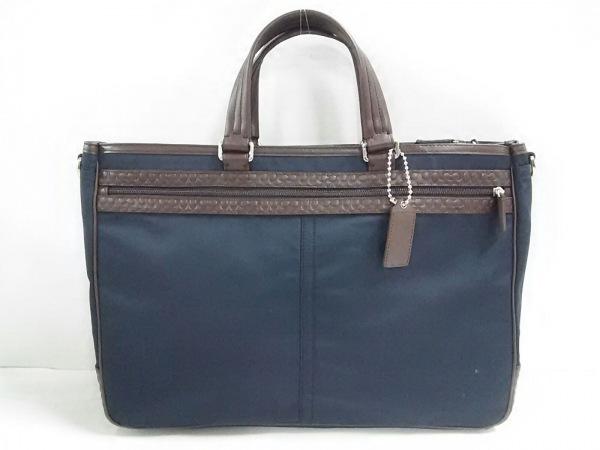 COACH(コーチ) ビジネスバッグ美品  ミニシグネチャー柄 F70937 黒×ダークブラウン