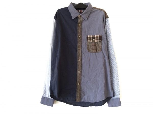 Desigual(デシグアル) 長袖シャツ メンズ グレー×ネイビー×マルチ パッチワーク