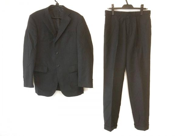 タケオキクチ シングルスーツ サイズ2 M メンズ 黒×ライトグレー ストライプ