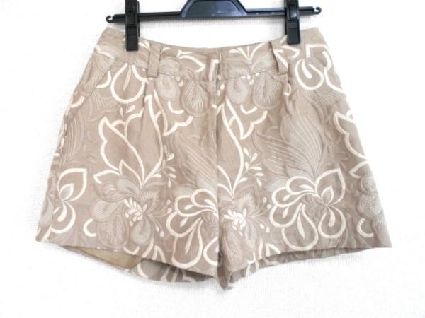 ダイアグラム ショートパンツ サイズ38 M レディース美品  ベージュ×アイボリー 刺繍