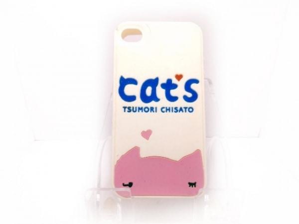 TSUMORI CHISATO(ツモリチサト) 携帯電話ケース 白×ピンク×ブルー ラバー