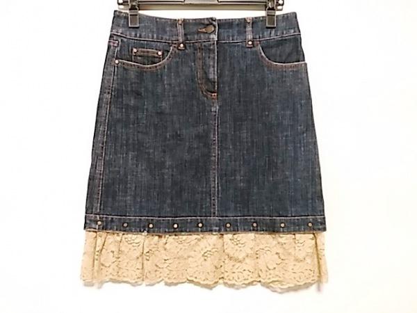 バレンチノ スカート サイズ38 M レディース美品  ネイビー×ベージュ デニム/レース