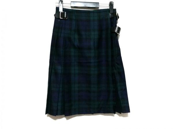 オニール 巻きスカート サイズ40 M レディース ダークグリーン×ダークネイビー×黒