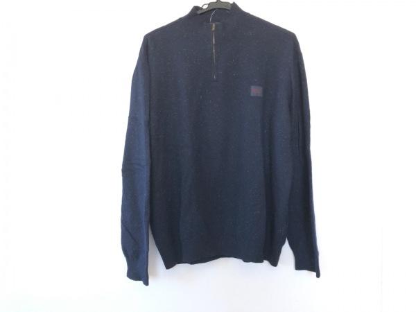 Papas(パパス) 長袖セーター サイズS メンズ ダークネイビー×アイボリー