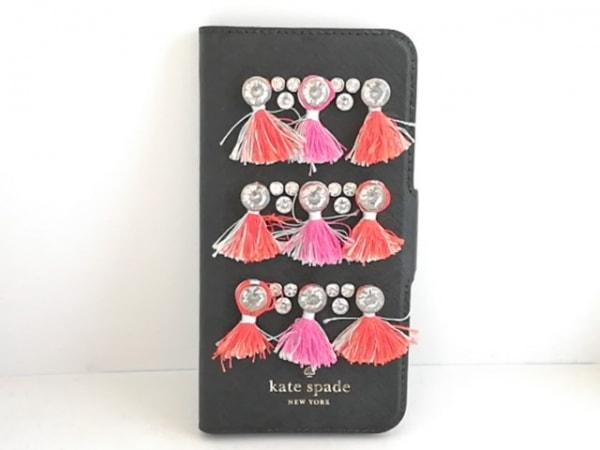 Kate spade(ケイトスペード) 携帯電話ケース 黒×クリア×マルチ フリンジ/ビジュー