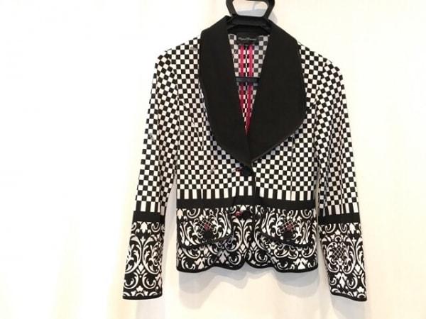 レジィーナロマンティコ ジャケット サイズ40 M レディース 白×黒 チェック柄