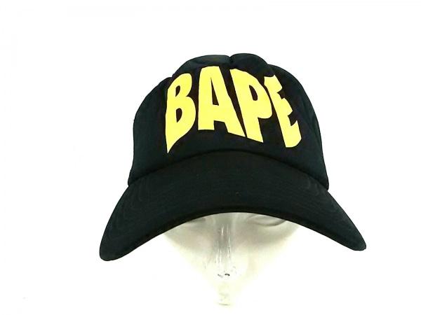 A BATHING APE(ア ベイシング エイプ) キャップ F美品  黒×イエロー ポリエステル