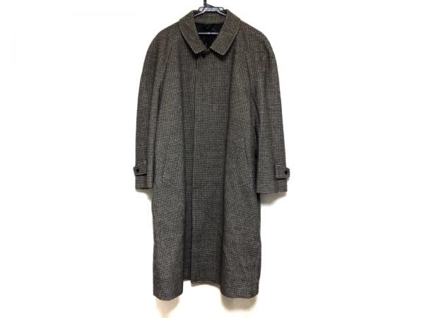LANVIN(ランバン) コート メンズ美品  黒×アイボリー 冬物/千鳥格子