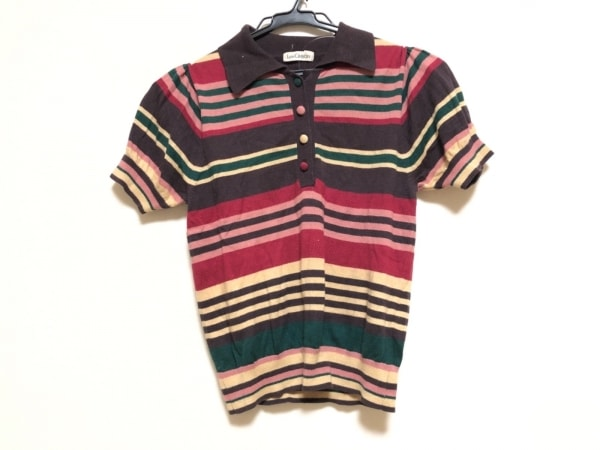 ロイスクレヨン 半袖ポロシャツ サイズM レディース ブラウン×ピンク×マルチ