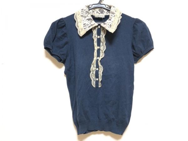 ロイスクレヨン 半袖ポロシャツ サイズM レディース ダークネイビー×ベージュ