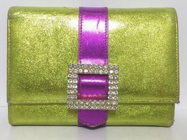 アッシュ&ダイヤモンド 2つ折り財布 ゴールド×パープル ラインストーン レザー