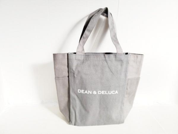 DEAN&DELUCA(ディーンアンドデルーカ) トートバッグ ライトグレー×白 キャンバス