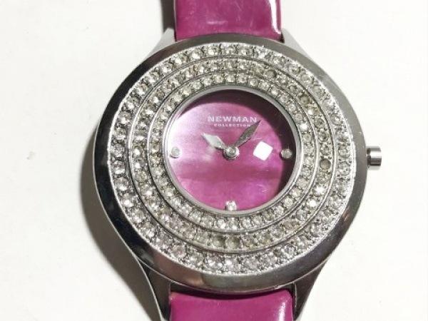 ニューマン 腕時計 - レディース シェル文字盤/ラインストーン/革ベルト ピンクシェル