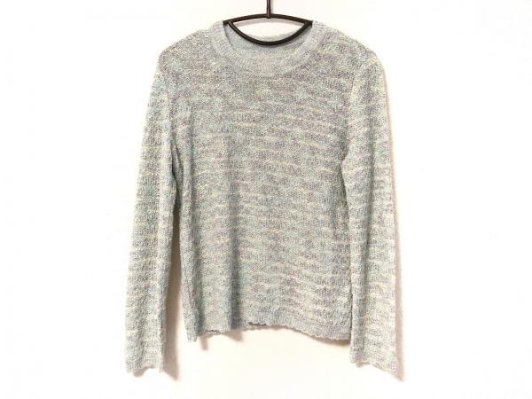 レリアン 長袖セーター サイズ9 M レディース美品  ライトブルー×ネイビー×マルチ