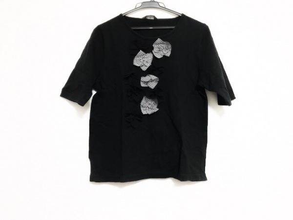 ロベルタガンドルフィ 半袖カットソー レディース美品  黒×白 フラワー