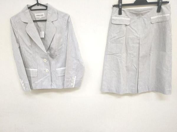 ハナエモリ スカートスーツ サイズ38 M レディース美品  ライトグレー×白 ストライプ