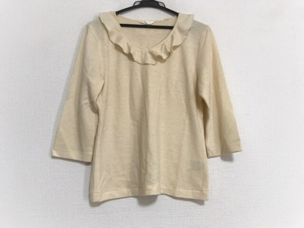 INGEBORG(インゲボルグ) 七分袖セーター サイズM レディース美品  アイボリー フリル