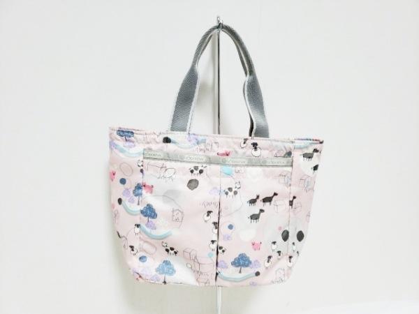レスポートサック ハンドバッグ美品  ピンク×マルチ×ライトグレー ミニサイズ