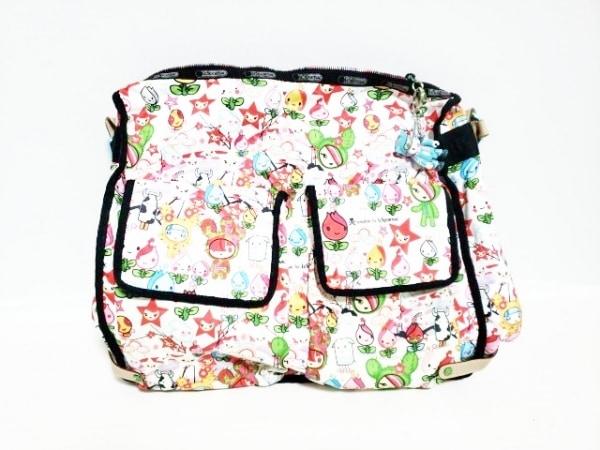 トキドキフォーレスポートサック ショルダーバッグ美品  白×ピンク×マルチ