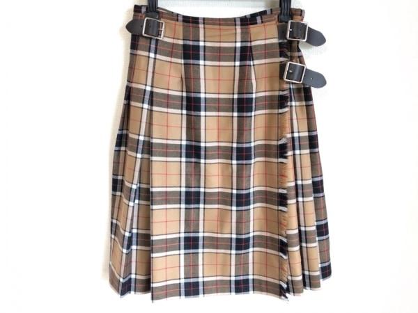 オニール 巻きスカート サイズ8 M レディース美品  ブラウン×黒×マルチ チェック柄
