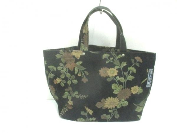 イチザワシンザブロウハンプ トートバッグ 黒×ブラウン×マルチ 花柄 キャンバス