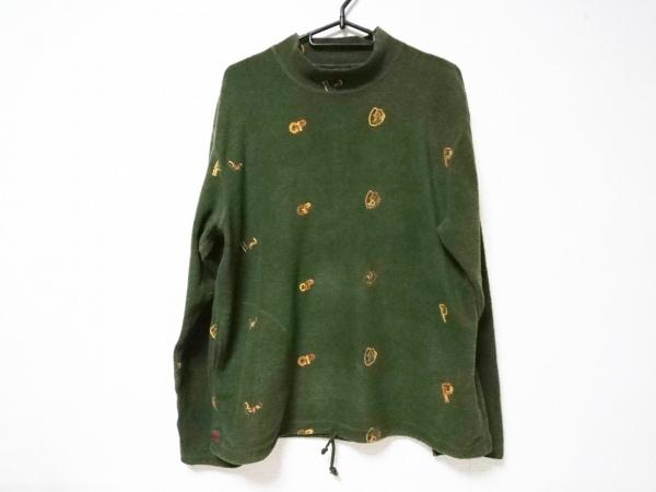 Papas(パパス) 長袖セーター レディース カーキ×ブラウン×マルチ ハイネック/刺繍